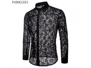 Luxury Floral Embroidery Lace Shirt