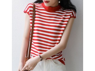 Women Striped Knitted T-shirts