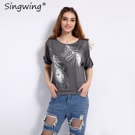 summer-women-feather-printed-t-shirts-big-0
