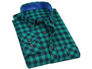 100% Cotton Flannel Plaid Shirts Slim Social Shirt