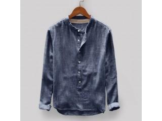 Fashion Men Sweatshirt Casual Linen Top Blouse