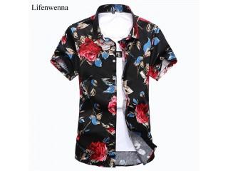 Fashion Men's Shirt Short Sleeve Floral Shirt