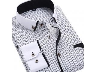 Long Sleeved Printed Shirt Business Dress Shirts
