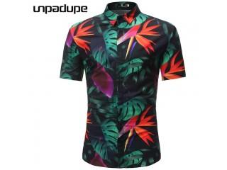 Men Hawaiian Shirt Male Casual Beach Shirts