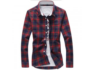 Plaid Shirts Men Checkered Shirt Long Sleeve Shirt