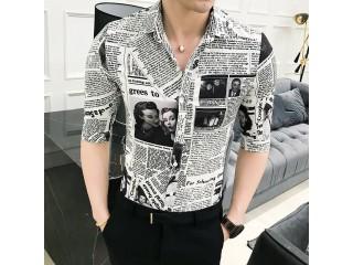 Half Sleeve Newspaper Print Shirt