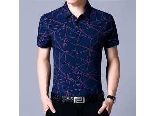 Short Sleeve Geometric Print Shirts