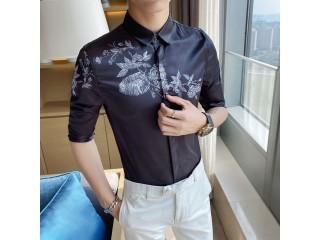 Flower Print Half Sleeve Shirt