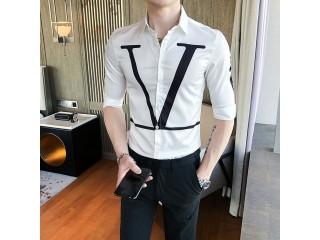 Letter Print Shirt Men Fashion