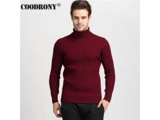 100% Cashmere Sweater Men Turtleneck