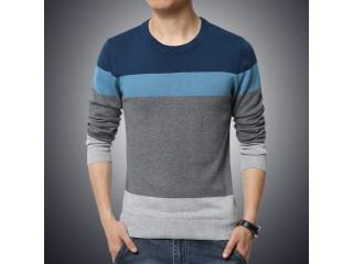 Casual Men's Sweater O-Neck Striped