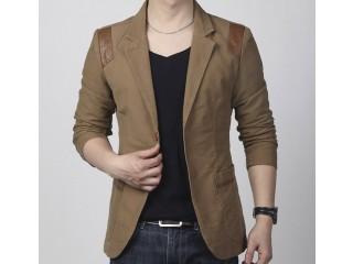 Casual Slim Fit Blazer Leather Patchwork
