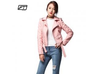 Women Faux Soft Leather Jacket Long Sleeve