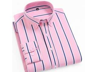 Men Elastic Striped Dress Shirt