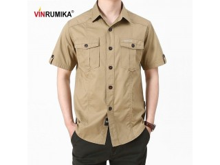 Summer Men Casual Army Shirt
