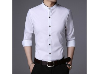 Youth Mandarin Collar Cotton Shirts