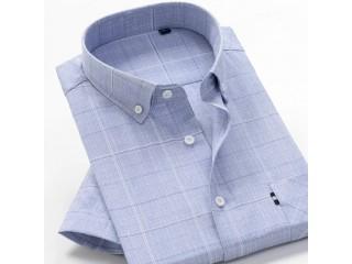 Men Plaid Cotton Business Shirt