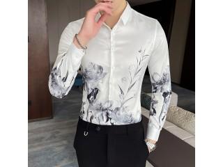 Men Fashion Flower Print Shirts