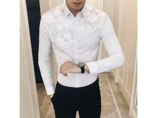 Sexy Lace Patchwork Men Shirt