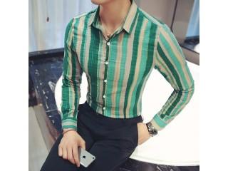 Long Sleeve Striped Social Shirts