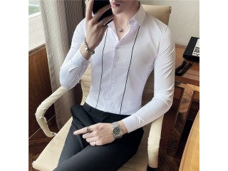 Long Sleeve Embroidery Stripes Shirts