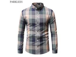 Mandarin Collar Plaid Dress Shirts