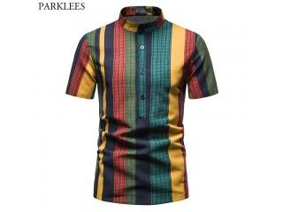 Patchwork Baggy Cotton Linen Shirts