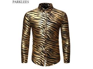 Gold Zebra Print Disco Shirt