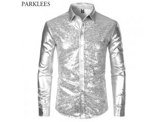 Silver Metallic Sequins Glitter Shirt