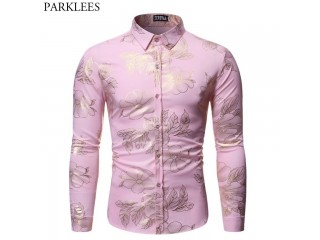Gold Floral Print Party Shirt