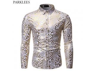 Shiny Gold Paisley Print Shirt