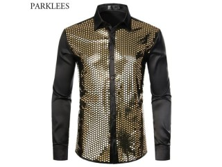 Shiny Gold Sequin Silk Shirts