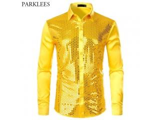 Men Luxury Sequin Dress Shirts