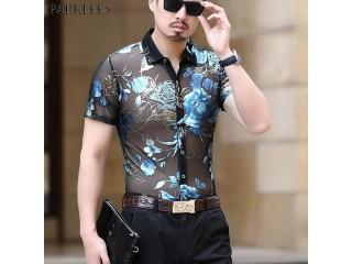 Sexy Transparent Clubwear Dress Shirt