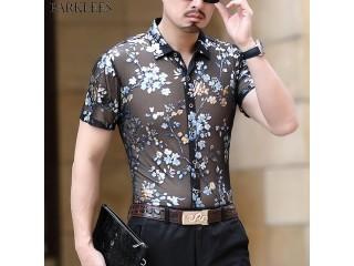 Floral Embroidery Transparent Shirt