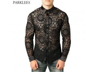 Men Through Black Lace Shirt