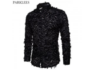 Sexy Black Feather Lace Shirt
