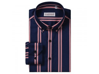Men Striped Cotton Dress Shirt