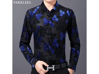 Luxury Floral Velvet Dress Shirts