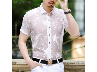 White Star Embroidery Lace Shirt