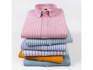 Oxford Shirt Men Striped Dress