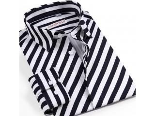 Diagonal Stripes Long Sleeve Shirts