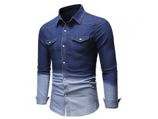 Patchwork Long Sleeve Denim Shirt