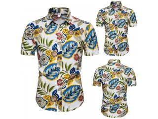 Men's Hawaiian Shirt Leaf Print Shirts