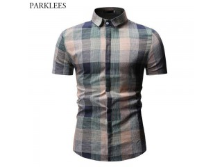 Plaid Casual Cotton Dress Shirts