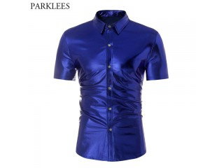 Royal Blue Coated Metallic Shirt