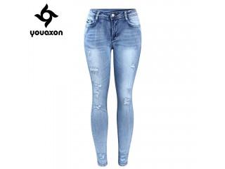 Classic Distressed Jeans Ripped True Denim Pants