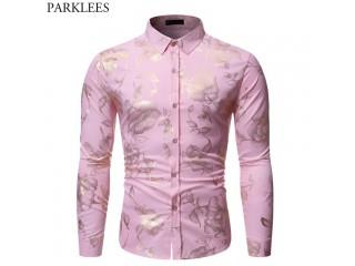 Gold Rose Print Pink Shirt