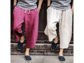 Fashion Linen Cropped Cross Pants