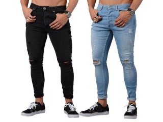Sexy Hole Jeans Men Sweatpants